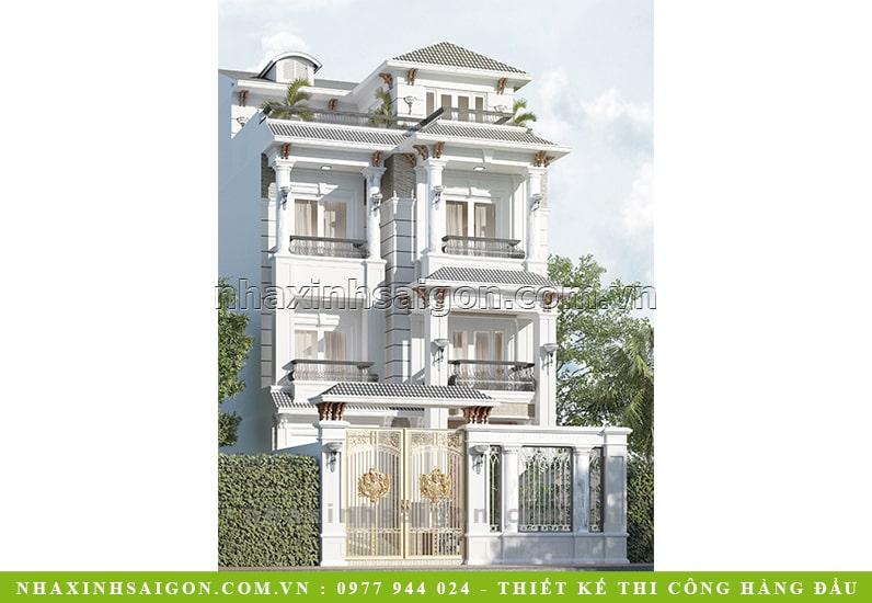 biệt thự 3 tầng cổ điển, nhà xinh