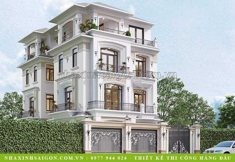 biệt thự 4 tầng tân cổ điển, thiết kế nhà đẹp