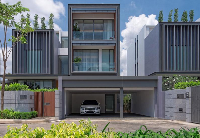 biệt thự hiện đại có garage, nhà xinh