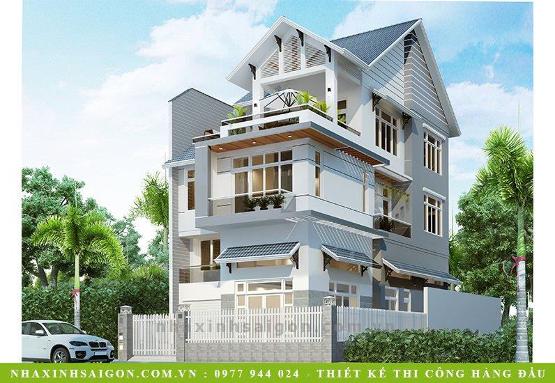 biệt thự hiện đại 3 tầng mái thái, nhà xinh