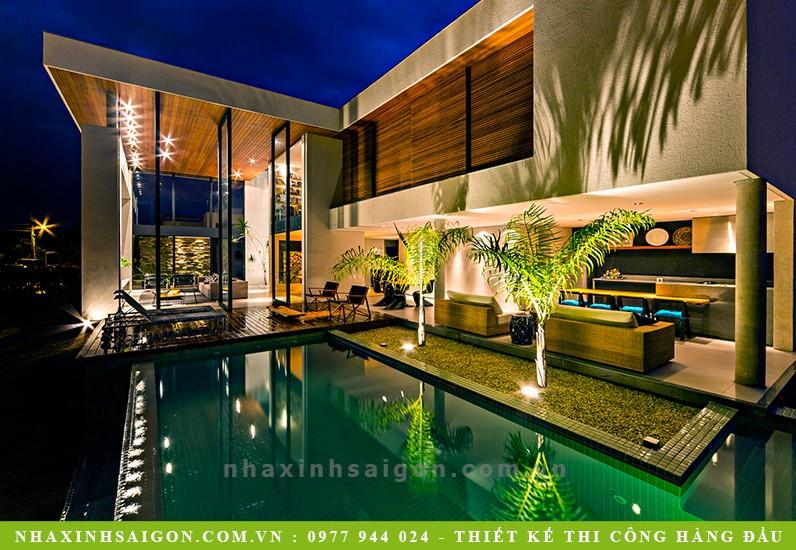 hồ bơi sân vườn biệt thự đẹp, thiết kế nhà đẹp