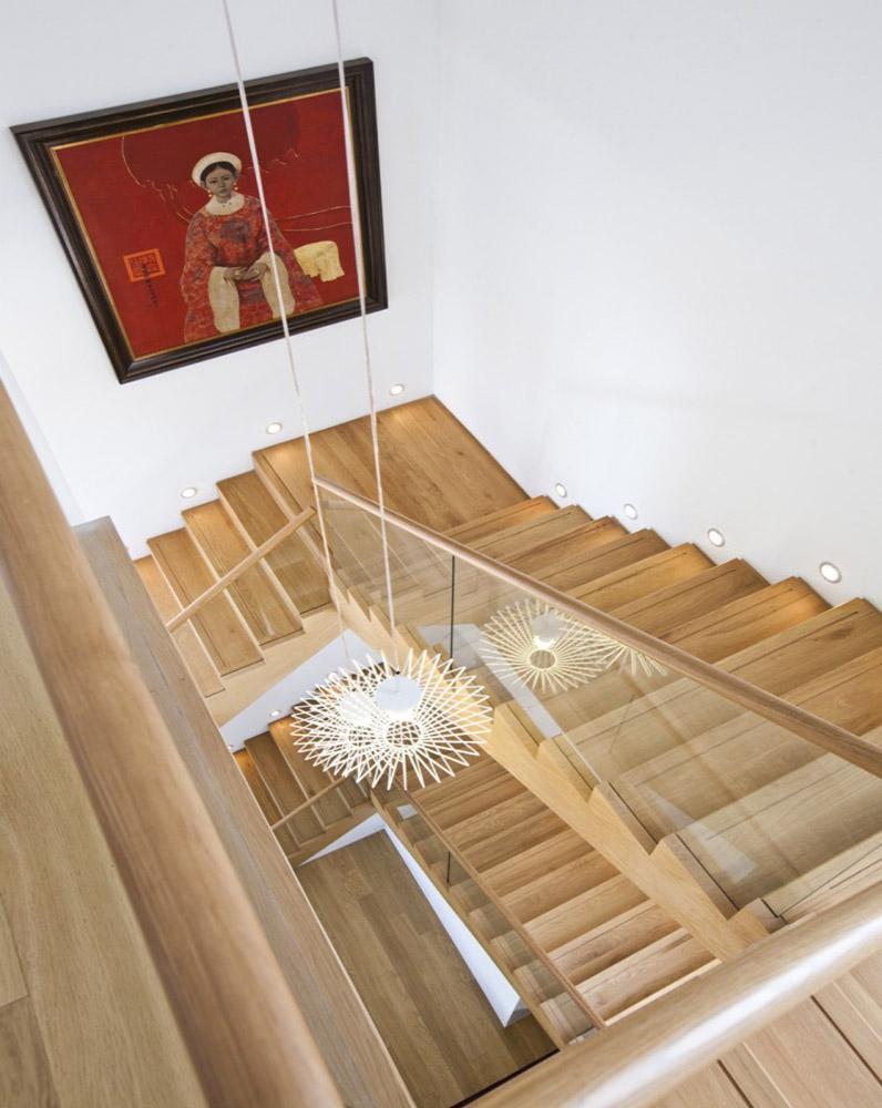 mẫu cầu thang gỗ đẹp, khong gian nha dep