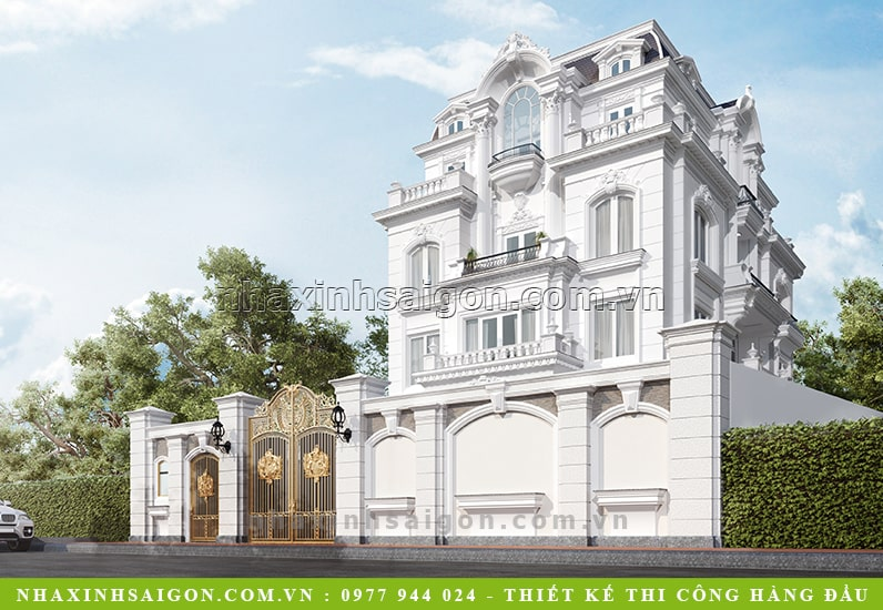mẫu dinh thự cổ điển 3 tầng, thiết kế nhà đẹp