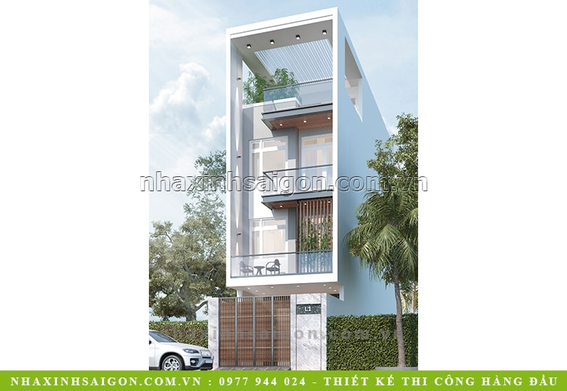 mẫu nhà phố đẹp 4 tầng, nhà xinh
