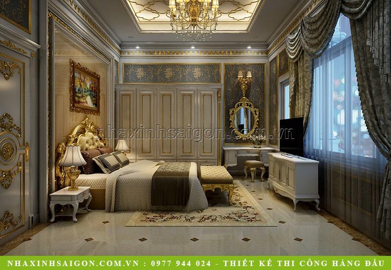 phòng ngủ cổ điển sang trọng, biệt thự đẹp