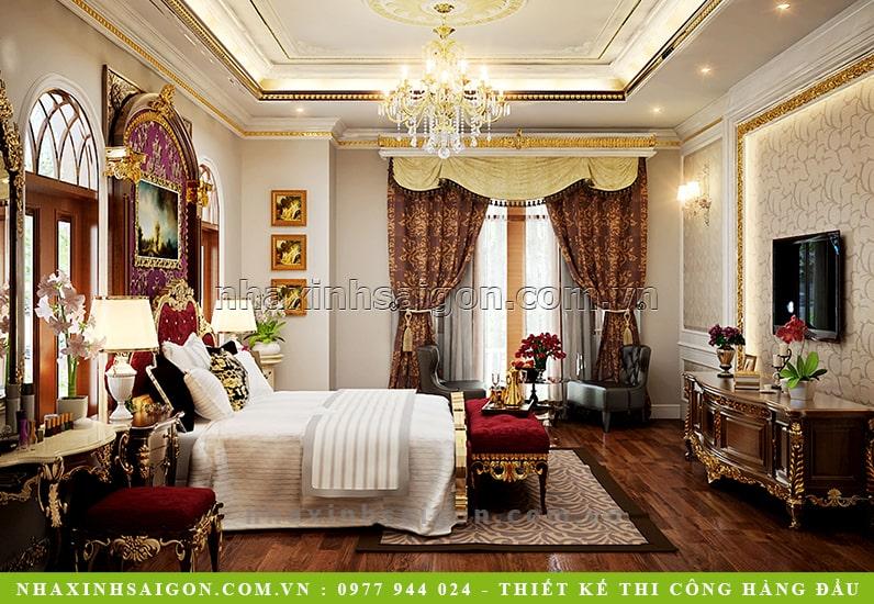 thiết kế phòng ngủ master cổ điển, biệt thự đẹp
