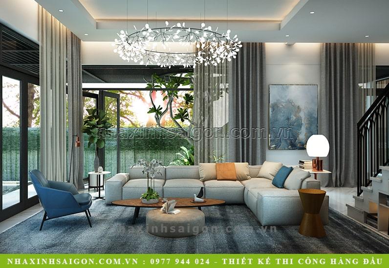 mẫu phòng khách hiện đại, biệt thự sân vườn hiện đại