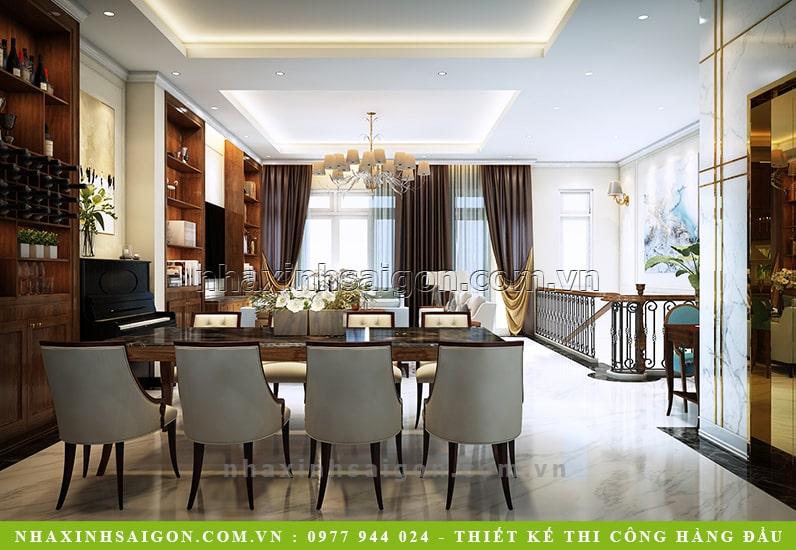 thiết ké nội thất phòng ăn đẹp, biệt thự phố 3 tầng