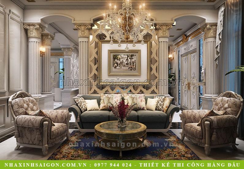 mẫu nội thất phòng khách cổ điển, nội thất nhà xinh