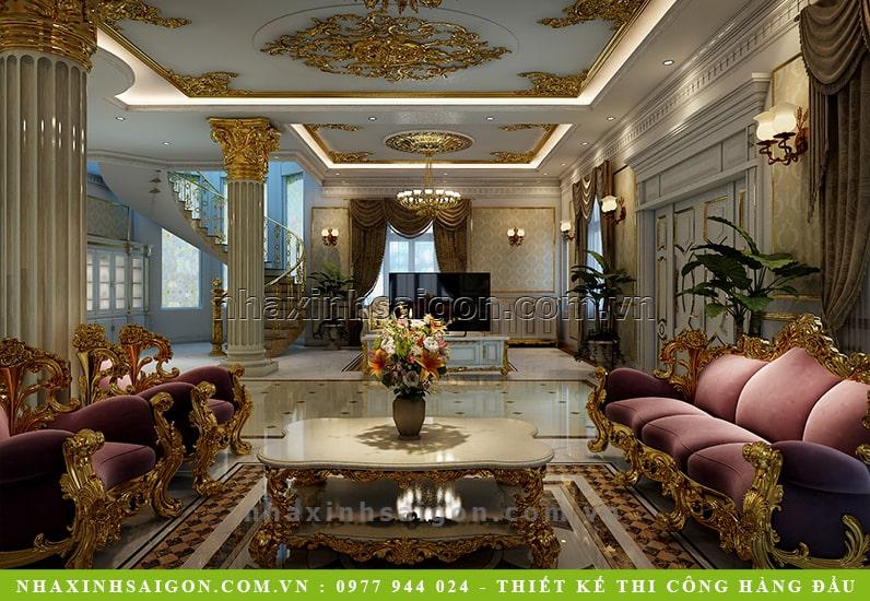 nội thấ phòng khách cổ điển, thiết kế nội thất