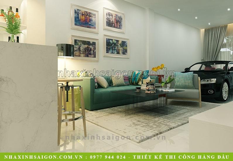 nội thất phòng khách hiện đại, nhà phố hiện đại