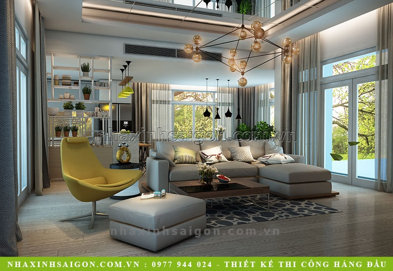 thiết kế nội thất phòng khách, công ty nhà xinh