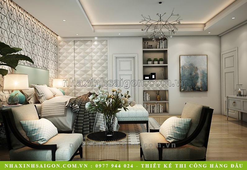 nội thất phòng ngủ master, biệt thự đẹp hiện đại