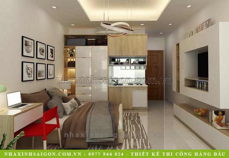 thiết kế nội thất phòng ngủ cho thuê, nội thất