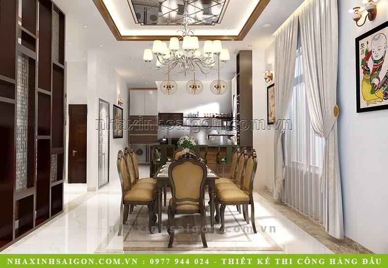 phòng ăn cổ điển đẹp, thiết kế nội thất
