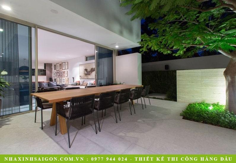 thiết kế bàn ăn ngoài trời, biệt thự sân vườn