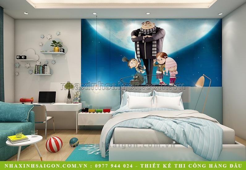 thiết kế phòng ngủ con trai, mau nha xinh