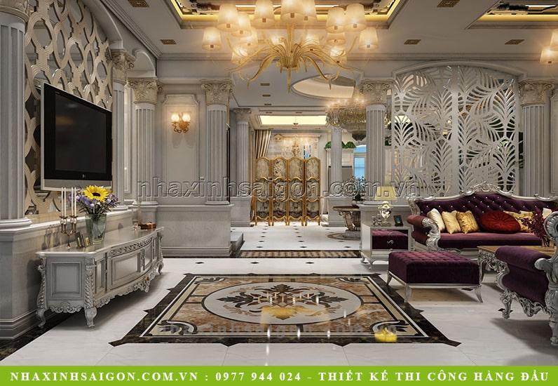 phòng khách biệt thự cổ điển, thiết kế biệt thự