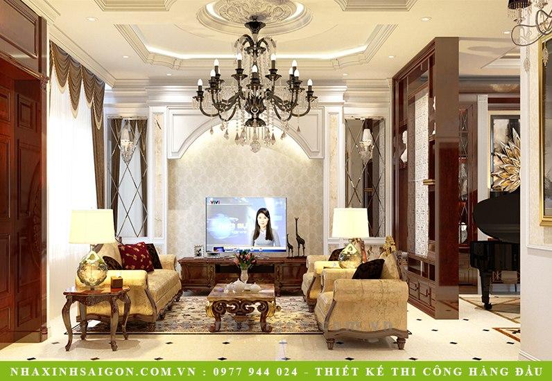 phòng khách cổ điển pháp, nội thất đẹp