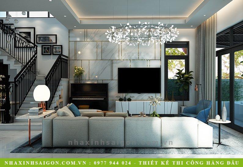 thiết kế phòng khách hiện đại, biệt thự sân vườn hiện đại