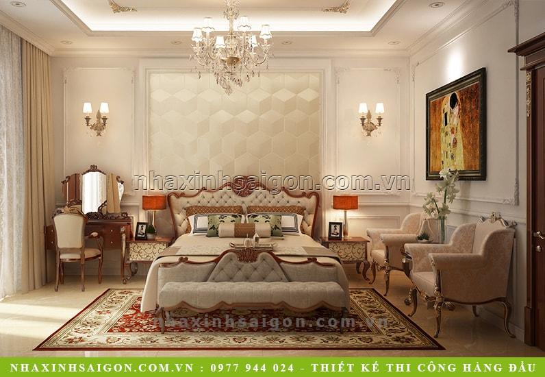 phòng ngủ master cổ điển, nội thất cổ điển