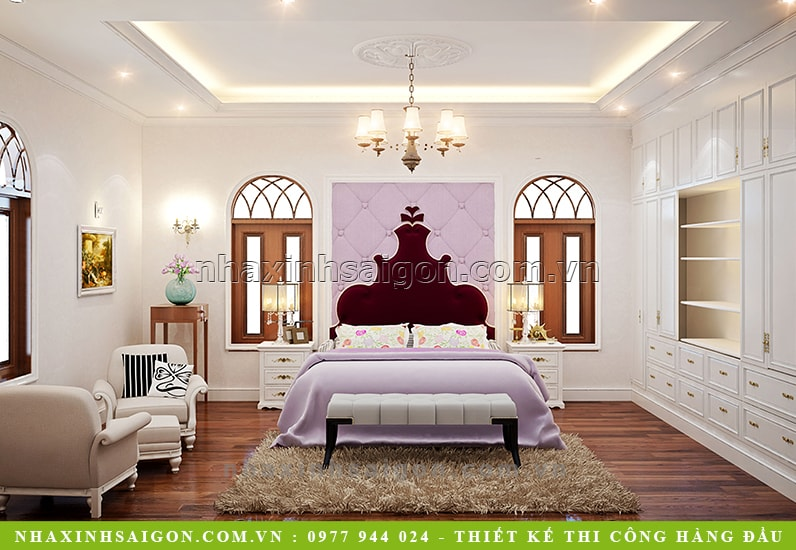 thiết kế phòng ngủ con gái cổ điển, biệt thự cổ điển