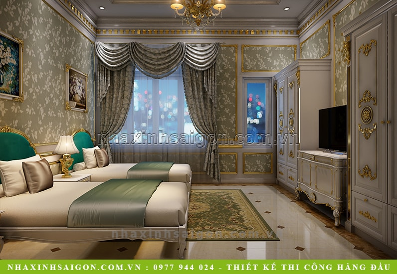 phòng ngủ giường đôi cổ điển đẹp, mẫu nội thất