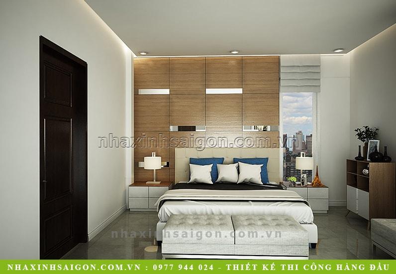 phòng ngủ master đẹp, nhà phố hiện đại