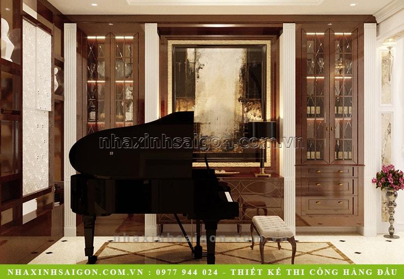 phòng khách có đàn piano, thiết kế nhà
