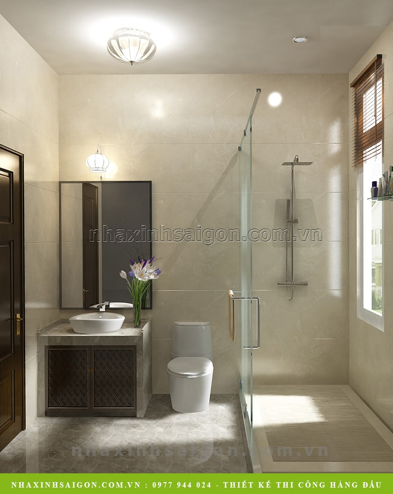 phòng vệ sinh tầng trệt đẹp, thiết kế nhà