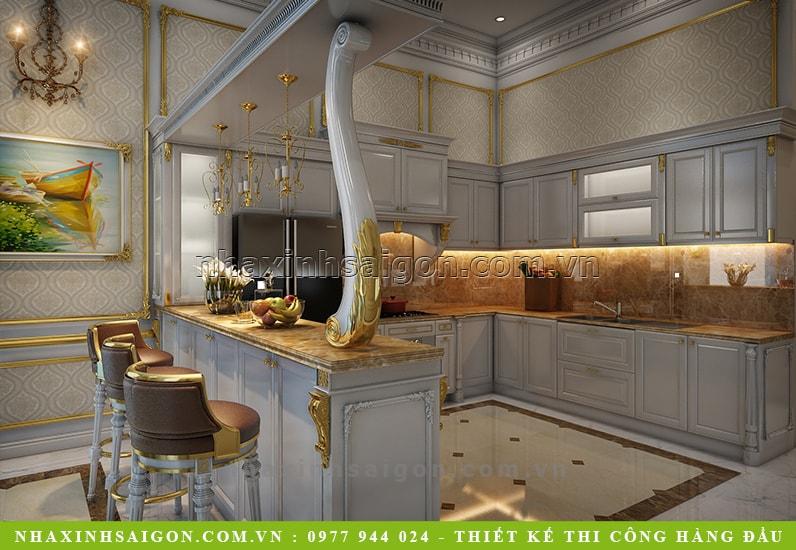 thiết kế phòng bếp cổ điển, công ty nhà xinh