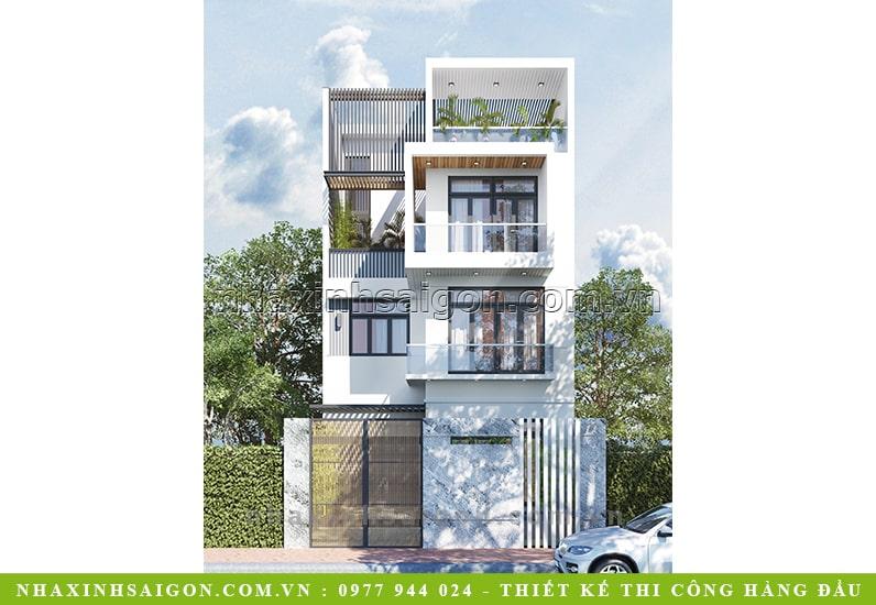 thiết kế nhà phố 4 tầng, nhà xinh