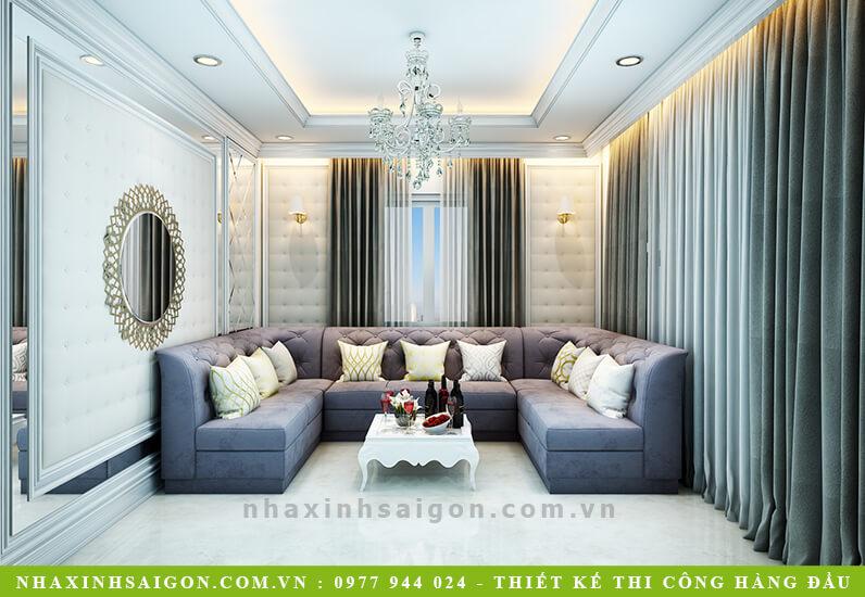 thiết kế nội thất phòng khách cổ điển, mẫu nhà xinh