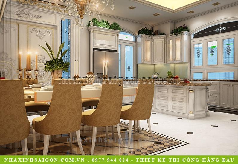 nội thất phòng bếp ăn cổ điển, mẫu nhà xinh