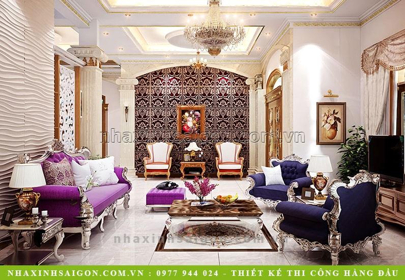 thiết kế phòng khách cổ điển, biệt thự cổ điển