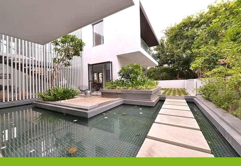 thiết kế hồ nước sân vườn biệt thự, nhà xinh