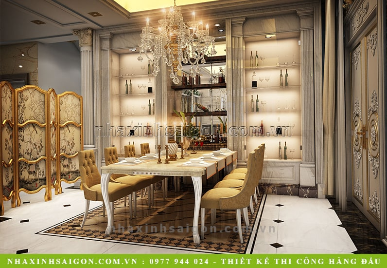thiết kế nội thất phòng ăn cổ điển, nhà xinh