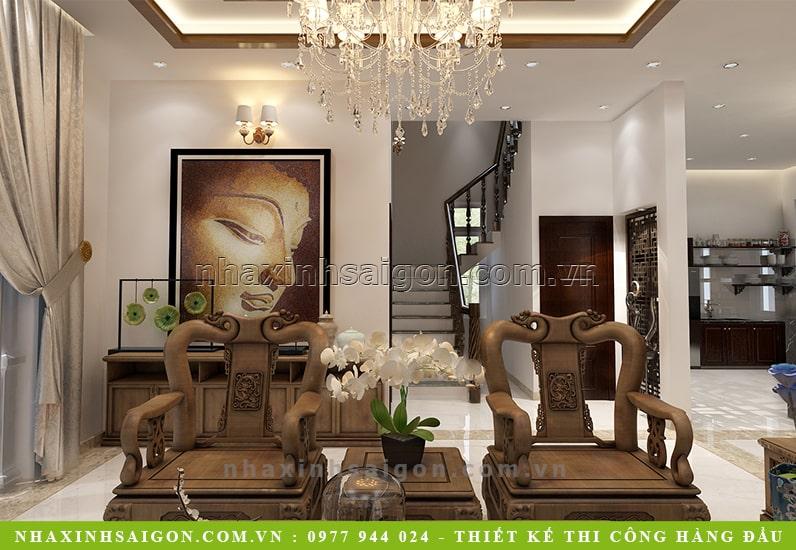 thiết kế nội thất phòng khách cổ điển, nhà xinh