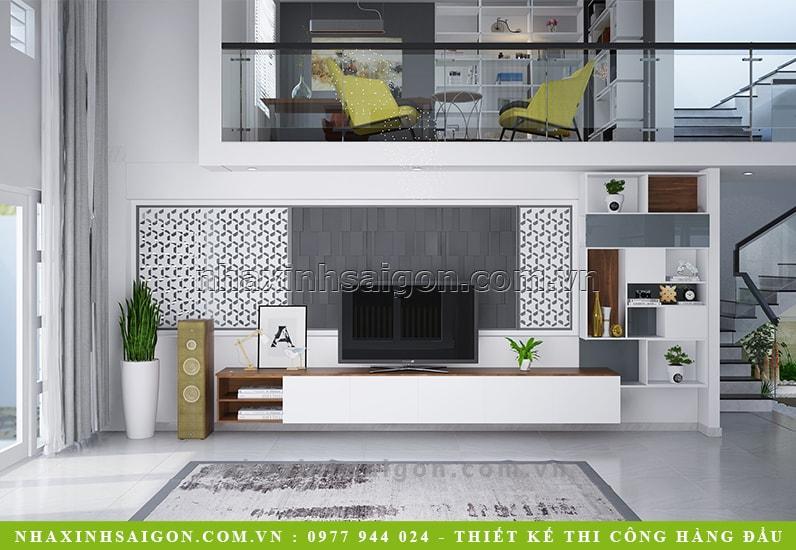 thiết kế phòng khách hiện đại, biệt thự 3 tầng