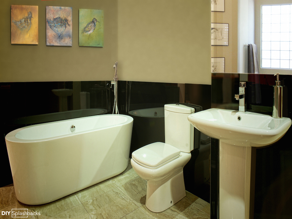 Dulux Rich Black Glass bathroom splashbacks 1