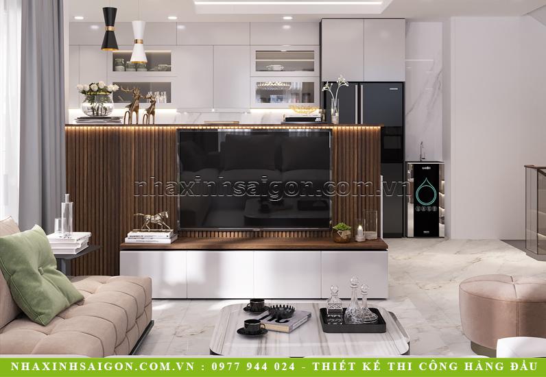 Thiết kế nội thất nhà phố 4 tầng với hệ lam gỗ treo tivi đẹp mắt