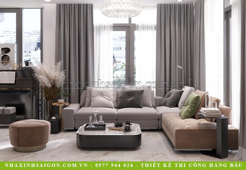 Thiết kế nọi thất phòng khách đẹp mắt nhờ ánh sáng tự nhiên từ những ô cửa kính to lớn