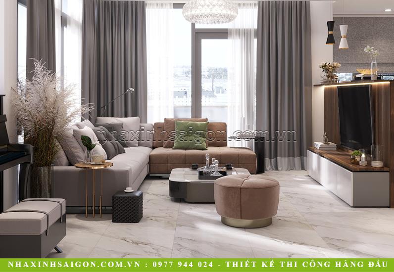 Tầng 1: Nhà phố 4 tầng đẹp hiện đại với không gian phòng khách sang