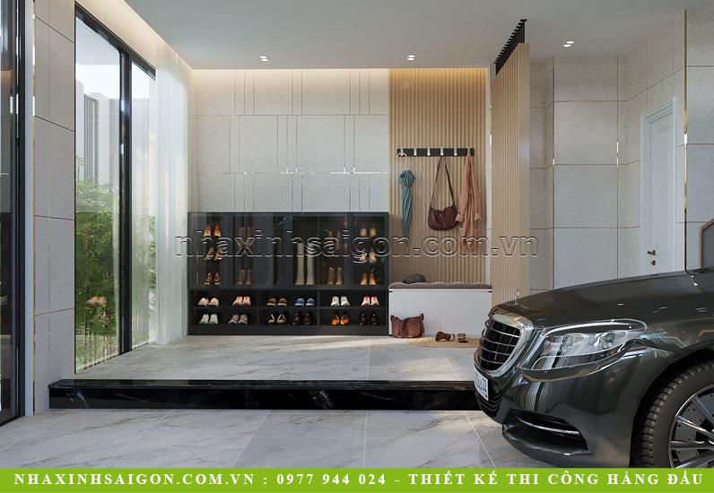 Tầng trệt: Thiết kế nội thất gara nhà phố 4 tầng với tủ giày dép đa năng đẹp sang