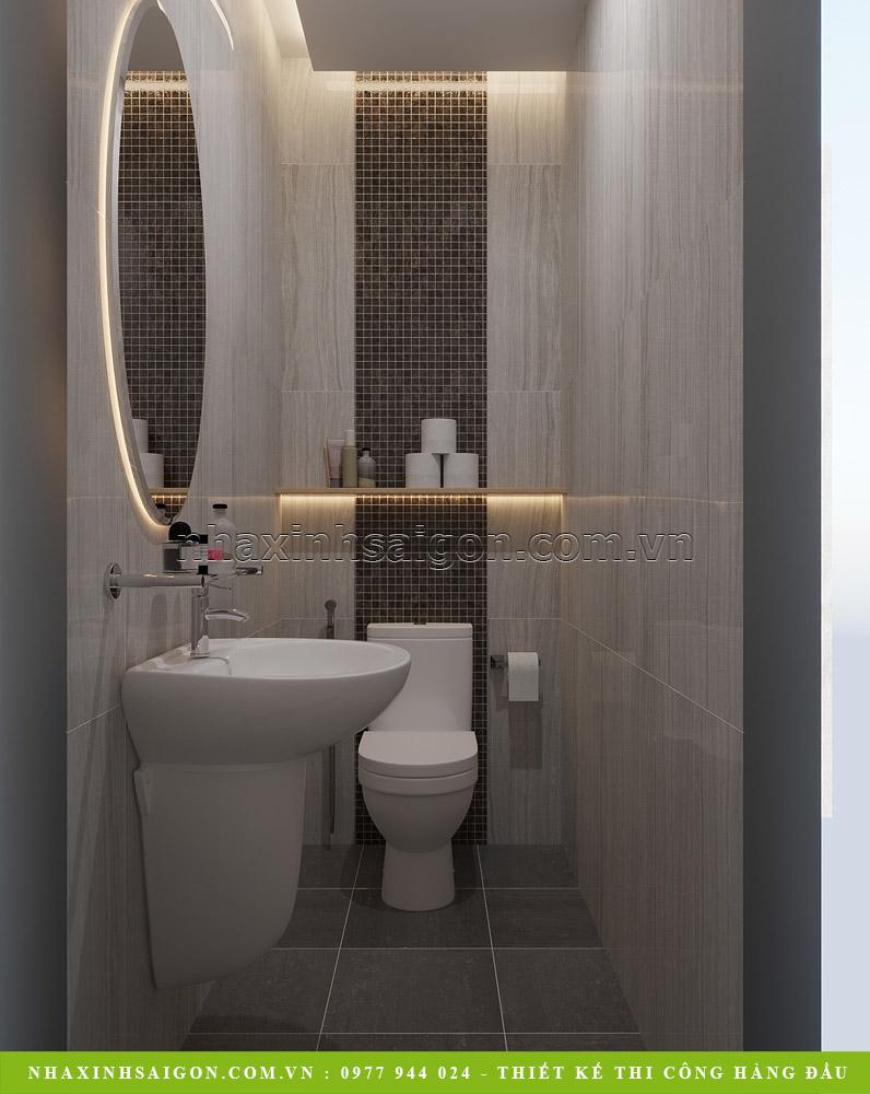 Tầng trệt: Thiết kế nội thất gara có phòng WC đẹp sang rất tiện lợi